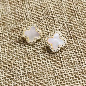 Jewelry - NWT Four leaf clover mother of pearl cz earrings